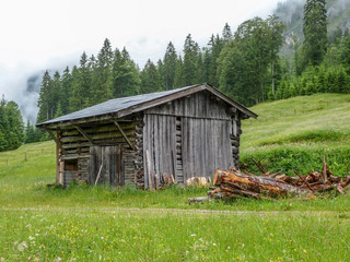 old wooden hut at Rappenalbtal in the allgaeu