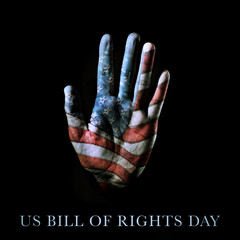 american flag and text US bill of rights day