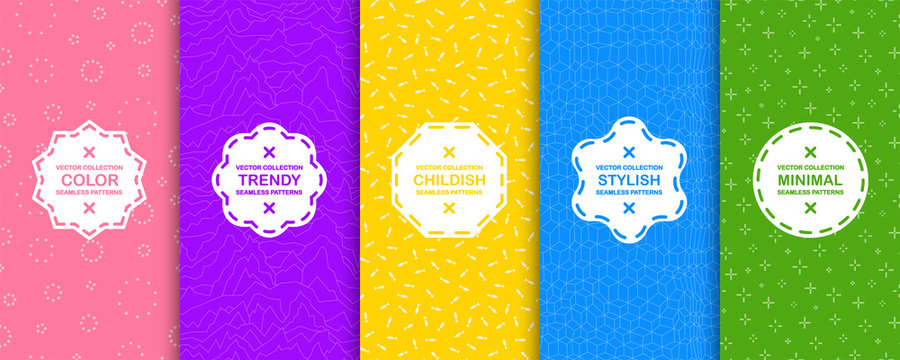 Set of bright seamless creative backgrounds. Vibrant geometric color patterns. Repeatable trendy textures