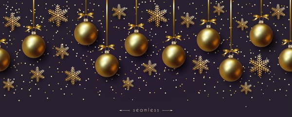 Christmas ultraviolet seamless border with realistic golden balls and snowflakes