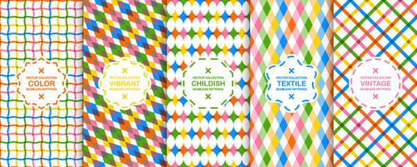 Collection of vector colorful decorative backgrounds - seamless geometric childish patterns. Vibrant repeatable textures