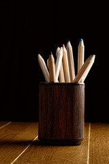Crayons in mug