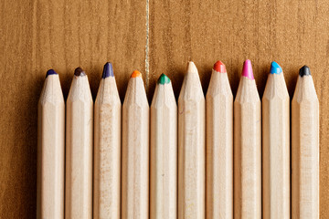 Row of pencils closeup