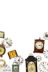 Collection of different vintage table clocks and clock faces