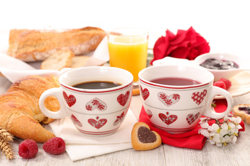coffee and croissant, valentine breakfast