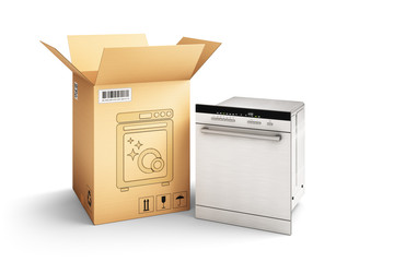 Shopping, purchase and delivery concept, cardboard box package and dishwasher machine isolated on white