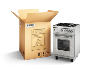 Shopping, purchase and delivery concept, cardboard box package and gas stove isolated on white