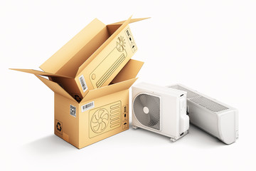 Shopping, purchase and delivery concept, cardboard box packages and air conditioner units, isolated on white