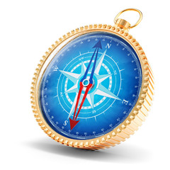 Navigation and exploration concept, compass with windrose on blue dial isolated on white