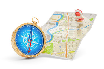 Travel destination, cartography and navigation concept, compass with blue dial and a paper city map with red point marker, isolated on white