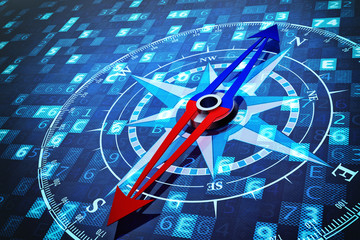 Concept of navigation in the digital world of information technology, compass on blue computer data background