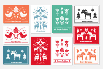 Set of Christmas hand drawn greeting cards in Scandinavian styl Wall mural