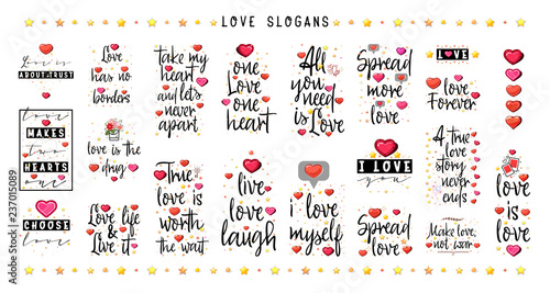 Love Quotes Big Set Vintage Lettering For T Shirt Design Valentine
