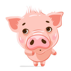 Cute little pig. Cartoon vector character.  Vector illustration of cute funny emoji characters.  Shy characters. Stickers. Flat style.