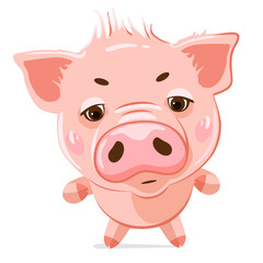 Cute little pig. Cartoon character.  Illustration of cute funny emoji characters.  Evil characters. Stickers. Flat style.