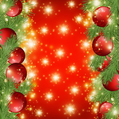 Red shiny background with Christmas decorations, decorative spruce branches, golden stars , holiday Merry X-mas and Happy New Year, illustration.eps 10