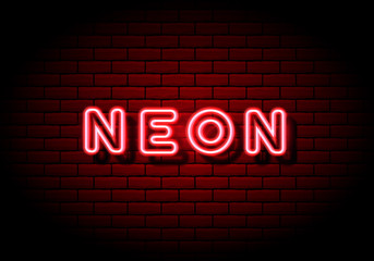Red neon sign on brick wall background.