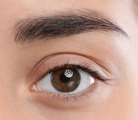 Closeup view of beautiful young woman with natural eyelashes