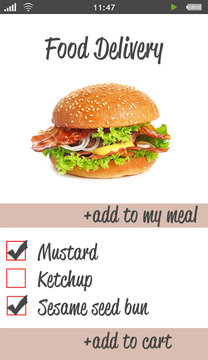 Interface of food delivery application. Online order