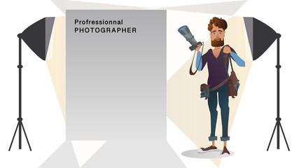 Young photographer working area Studio Banner design for photo studio courses and ads employee and workers jobs and professions professional concept Vector illustration cartoon character.