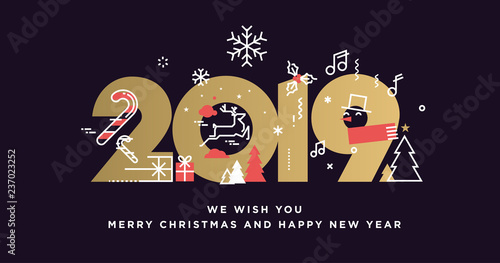 merry christmas and happy new year 2019 modern vector illustration concept for background greeting