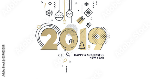 business happy new year 2019 greeting card vector illustration concept for background greeting card