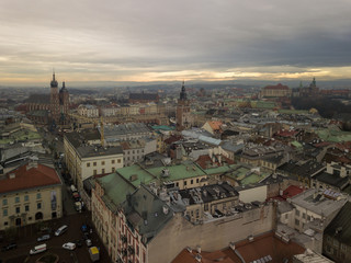 Krakow's Old Town with a bird's eye view of the north-west side