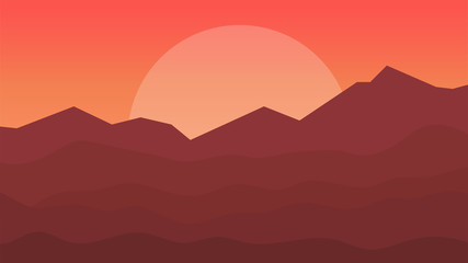 Landscape with mountains and sun. Scenery vector illustration.