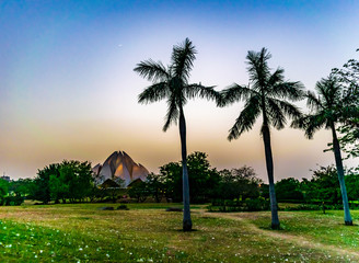 Lotus Temple after the sunset, a night view