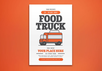 Event Flyer Layout with Food Truck Illustration
