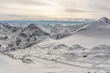 View from the Top of Stubai Glacier during the morning Time - Snowpark
