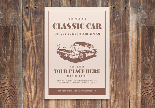 Event Flyer Layout with Car Illustration
