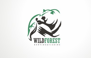 Hunting and Fishing logo vector.  Wild outdoor nature lovers emblem, sign, symbol or icon. Descriptive pic of wilderness life.