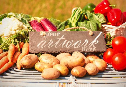 Slate and Fresh Vegetables Mockup