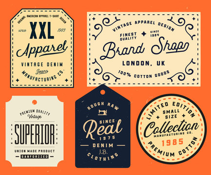 Collection of clothing tags, labels, badges, design elements. Denim typography labels