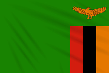 Flag Zambia swaying in wind, realistic vector
