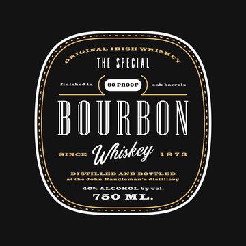 Vintage western alcohol beverage label, bourbon whiskey label template blackboard.