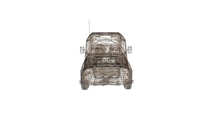 car model body structure, wire model 3d rendering