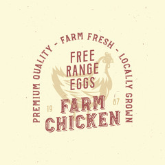 farm vintage logo with chicken. only organic food, chicken meat retro badge.