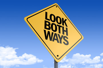 3D Illustration of a road sign _look both ways_angle3