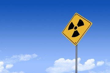 3D Illustration of a road sign _nuclear icon_angle2