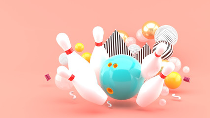 Blue bowling Among the colorful balls on the pink background.-3d rendering..