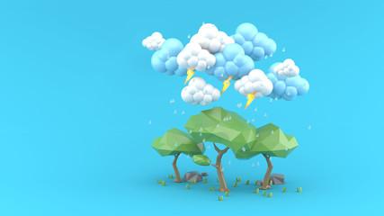 Rain falls on a big tree on a blue background.-3d render.