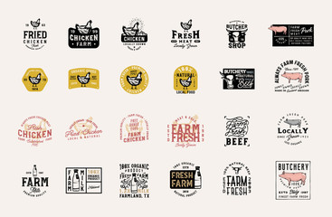 Master collection of 24 vintage farm fresh products badges, logos, signs, symbols, emblems, labels with pork, beef, rooster, milk and other design elements
