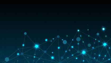 Abstract futuristic connecting dots and line  with polygonal on dark blue color background.vector technology design.