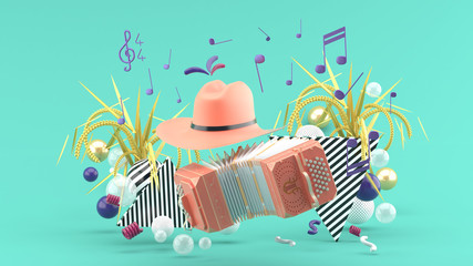 Accordion and a cowboy hat among the notes and colorful balls on the blue background.-3d render.