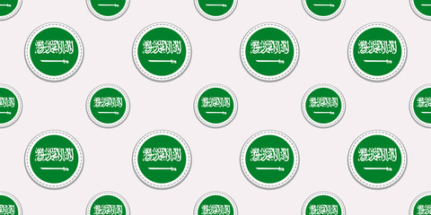 Saudi Arabia round flag seamless pattern. Saudi Arabian background. Vector circle icons. Geometric symbols. Texture for sports pages, travelling design elements. patriotic wallpaper.
