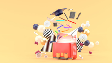School Supplies Floating out of a school bag amidst colorful balls on an orange background.-3d render..