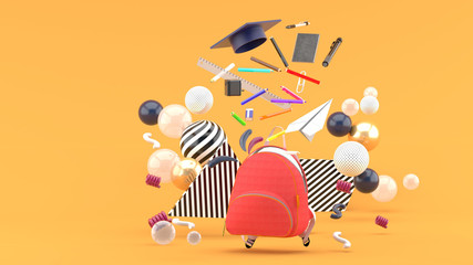 Foto op Canvas Grafische Prints School Supplies Floating out of a school bag amidst colorful balls on an orange background.-3d render..