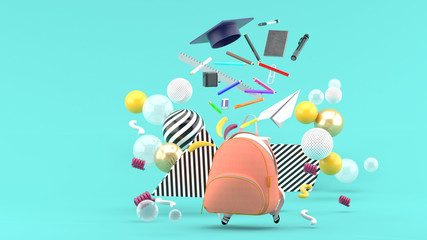 Foto op Canvas Grafische Prints School Supplies Floating out of a school bag amidst colorful balls on a blue background.-3d render..
